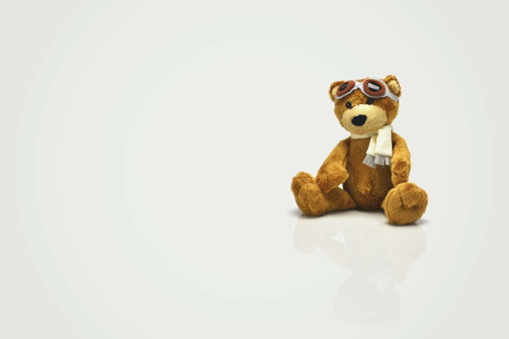 A picture of a toy teddy bear to represent a bearish market setting.